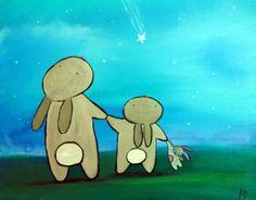 Original Kids Wall Art, Bunny Rabbits and Shooting Star Painting, Woodland Nursery Art