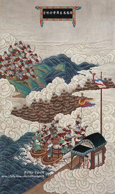 """오늘 포스팅한 작품은 2011년도 민화공모전에 출품해 저에게 최우수상의 영광을 안겨준 """"삼국지연의도""""입니... Business Illustration, Graphic Design Illustration, Illustration Art, Korean Painting, Chinese Painting, Japanese Drawings, Japanese Art, Chinese Artwork, Space Artwork"""