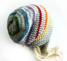 Slouchy Beanie Crochet Slouch Hat Gray Rainbow Mens Womens Teen Gay pride LGBT Grey Fall autumn winter accesories. $24.00, via Etsy.