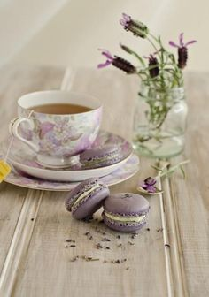 Lavender Macarons with Jasmine Essence Filling