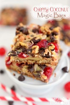 Cherry Coconut Magic Bars | Those sweet maraschino cherries do the most amazing things for these bars as well as add a pretty pop of color (perfect for Valentine's Day and Christmas!). I used walnuts but I think pecans would be a great substitution should you so desire. @momontimeout