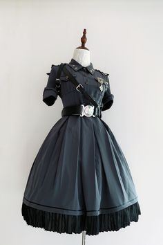 Your Highness -The Vow- 2019 Version Military Lolita OP Dress,Lolita Dresses, Pretty Dresses, Beautiful Dresses, Fantasy Dress, Fantasy Outfits, Kawaii Clothes, Cosplay Outfits, Cosplay Dress, Dance Outfits, Emo Outfits