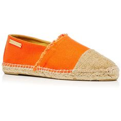 Heidi Klein Orange Canvas Maya Bay Espadrille ($170) ❤ liked on Polyvore featuring shoes, sandals, espadrilles shoes, orange sandals, canvas shoes, canvas sandals and orange shoes