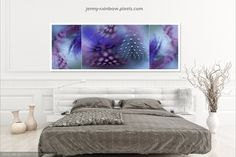 """the blue theme triptych showcase in interior with best idea of use as - """"Harmonic Union. This print available in larger sizes up to longest side. Feather Photography, Types Of Photography, Macro Photography, Fine Art Photography, Triptych Art, Trending Art, Colorful Feathers, Interior Decorating, Interior Design"""