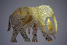 Elephant Gold Foil Print Gold Foil Artwork by wordsignsdecor