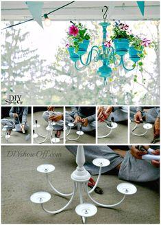 DIY Chandelier Planter - DIY Garden Projects - 101 DIY Ideas to Upgrade Your Garden - DIY & Crafts