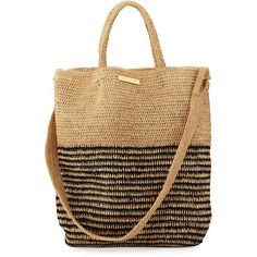 Vix Striped Woven Straw Beach Tote Bag ($196) ❤ liked on Polyvore featuring bags, handbags, tote bags, beige, striped tote bag, woven beach bag, woven tote, beach bag and beach tote