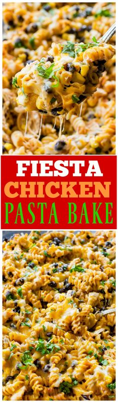 Fiesta Chicken Pasta Bake - creamy, spicy, cheesy...your family will love this easy Mexican dinner. the-girl-who-ate-everything.com