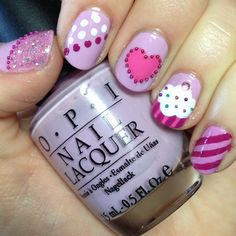 cute skittle nail art with cupcakes, hearts, stripes, dots, & microbeads