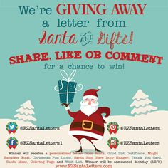 🎅🎅 We're GIVING AWAY a letter from Santa and a gift bundle that include's a good list certificate and gifts from Santa!! 🎅🎅 ENTER by commenting, sharing or liking the post below.  US Residents Only www.EZSantaLetters.com  #santaletters #letterfromsanta #giveaway #freebie