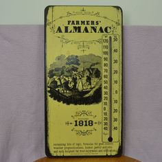 Vintage Style Founded 1818 Farmers Almanac Wood Wall Mount Thermometer #FarmersAlmanac