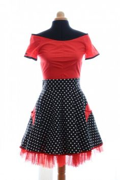 French fashion design,rockabilly,jupe fifties,jupe rock, rouge et noir,skirt, rock style, black and red,french designer