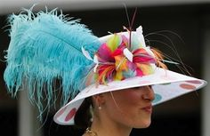 Macaroni -- #17 blue feather goofy kentucky derby 2012 hat