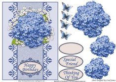 Card Front   Blue Hydrangea on Craftsuprint designed by Carol James - A cardfront with some decoupage pieces for that 3d effect. Can be used for lots of different occasions like Birthdays, Mother's Day, Best Wishes, Anniversaries, Thinking of You, Thanks, etc.3 sentiment tags and one blank tag are included. Sentiments read:Happy BirthdaySpecial FriendThinking Of You - Now available for download!