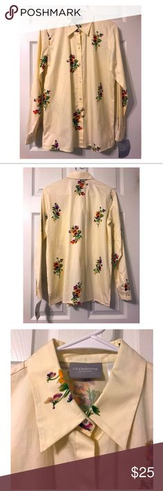 "NWT Liz Claiborne Floral Button Down Blouse NWT Liz Claiborne Floral Button Down Blouse  Condition: NWT Approximate Measurements: Size 6 Width-20"" Length-29"" Liz Claiborne Tops Button Down Shirts"