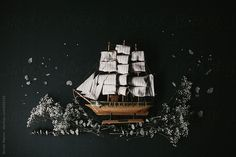 wooden model sailboat with plants layout