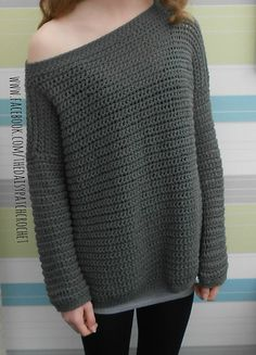 This is a PDF crochet pattern for an off the shoulder sweater. This is an over-sized sweater that you will find both comfortable & fashionable to wear. This is a perfect project for beginners with photo instructions throughout. There will be sewing involved at the end. PLEASE BE SURE TO TEST THE GAUGE! More
