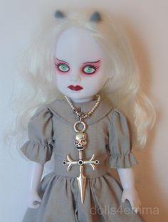 """SKULL CROSS DAGGER"" - LIVING DEAD DOLL JEWELRY Goth Necklace SKULL CROSS Custom JEWELRY by dolls4emma - on Ebay."