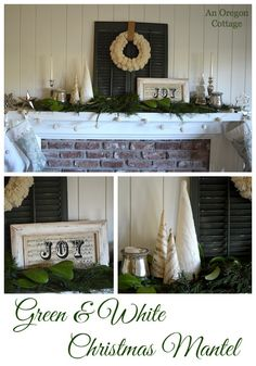 Create a Green and White Christmas Mantel with DIY pom pom wreath & garland and easy music sheet projects - An Oregon Cottage
