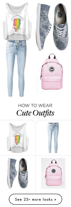 """Cute school outfit"" by creepypastalover29 on Polyvore featuring Frame Denim, Vans and Hype"