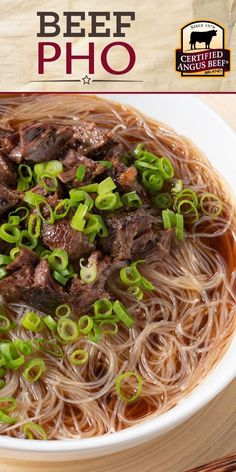 Easily make the BEST Beef Pho right at home! Certified Angus Beef ®️ cross-cut shanks broiled with onions and ginger pair with a flavorful beef pho broth for a beef pho recipe you'll love! Best Beef Recipes, Beef Soup Recipes, Asian Recipes, Healthy Recipes, Beef Pho Soup Recipe, Vietnamese Pho Soup Recipe, Drink Recipes, Beef Noodle Soup, Healthy Nutrition