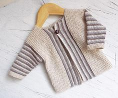 Baby sideways knit cardigan with stripe pattern/ 3 mos. to 12 mos. / intermediate / KNITTED / love this style