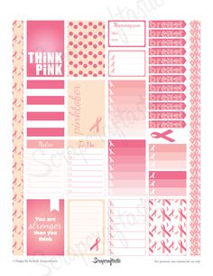 Scrapcraftastic: BREAST CANCER AWARENESS Free Pinktober Printable Planner Stickers for the Mambi Happy Planner