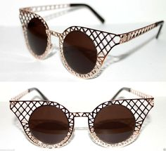 Cat Eye 50's Sunglasses Baroque Metal Chain Gold Frame Round Brown Lens Cateye  #Unbranded #CatEye