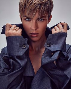 Ruby Rose Photo used in PhotoLab Edit Pixie Cut With Bangs, Short Hair Cuts, Short Hair Styles, Ruby Rose Style, Rubin Rose, Over 60 Hairstyles, Ruby Rose Hairstyles, Soft Grunge Hair, Short Pixie