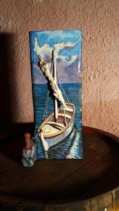 Original acrylic painting on reclaimed wood. Acrylic Painting Lessons, Watercolor Paintings Abstract, Watercolor Tips, Painting Tips, Painted Driftwood, Driftwood Art, Boat Painting, Painting On Wood, Brick Crafts