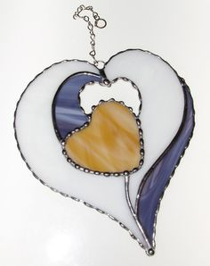Stained Glass Suncatcher  Four Hearts in One by GLASSbits on Etsy, $32.00