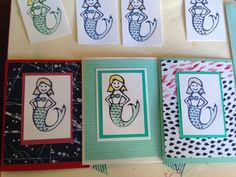 Funky, creative mermaid stamps on unique cards!