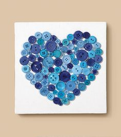 We HEART this easy #DIY button covered canvas from Jo-Ann Fabric & Craft Stores! Keep it mess-free with #GlueDots!