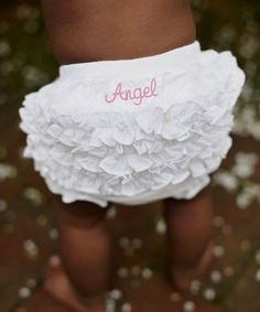 Look at this #zulilyfind! White 'Angel' Ruffle Diaper Cover - Infant & Toddler by RuffleButts #zulilyfinds