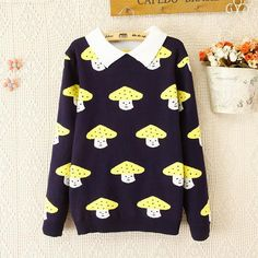 Fabric Material: Cotton  Main color: pink mushroom, yellow mushroom  Size: Free  Shoulder 42cm Bust 88cm Length 62cm Sleeve 55cm