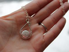 Pearl Sterling Silver Wrapped Captured Pearl by KittyStoykovich, $54.00