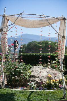 Real Wedding: Leilani and Brandon's Backyard California Wedding- Beautiful DIY ceremony site with handmade paper cranes