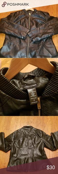 Leather jacket Black leather jacket size 16 (worn) Ashley Stewart Jackets & Coats