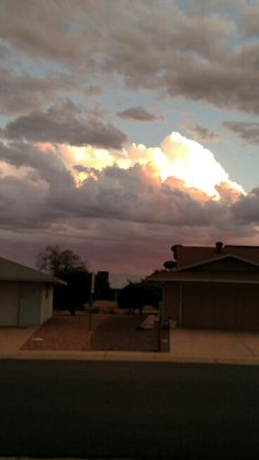 Looking South across the street.  Thunderstorms coming