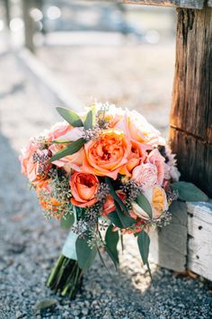 Rose bouquet with a rustic twist: http://www.stylemepretty.com/2015/04/24/rustic-fall-wedding-holland-ranch/ | Photography: Jen Rodriguez - http://www.jen-rodriguez.com/