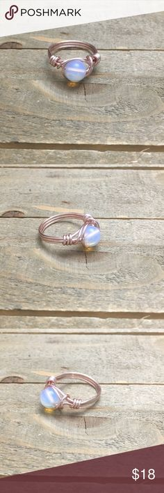 Handmade Rose Gold Opalite Ring I handmade this one of a kind genuine Opalite wrapped ring with a beautiful rose gold wire. Each ring I make is unique and no two are exactly alike.   Please Note: The use of gemstones is not meant as a substitute for medical or psychological diagnosis and treatment.  Always made with love, light and positive energy! Handmade Jewelry Rings