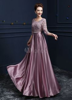 Lace Evening Dress Satin Round Neck Half Sleeve Mother Of The Bride Dress Cameo Pink A Line Floor Length Wedding Guest Dresses Long Dress Design, Stylish Dress Designs, Stylish Dresses, Fashion Dresses, Dress Brukat, Long Gown Dress, Lace Evening Dresses, Gown Party Wear, Cheap Party Dresses