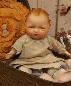 "Unusual 13"" Early 1900's Antique Composition Cloth Vintage Old Baby Doll 