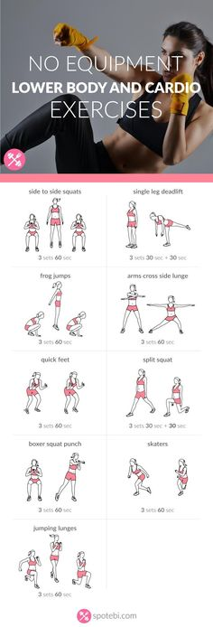 No Equipment Lower Body And Cardio Exercises - Spotebi Work your legs, hips and glutes with these lower body and cardio exercises. A 30 minute workout, perfect for burning a ton of calories in a short period of time. Forma Fitness, Reto Fitness, Fitness Tips, Fitness Motivation, Health Fitness, Health Yoga, Cardio Fitness, Fitness Models, Cardio Training