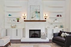 Fireplace mantel with built in cabinets living room contemporary with stucco fireplace open shelving wood fireplace mantel Stucco Fireplace, Fireplace Shelves, Fireplace Built Ins, White Fireplace, Living Room With Fireplace, Fireplace Design, Fireplace Mantels, Simple Fireplace, Mantel Shelf