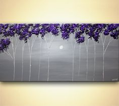 Contemporary Blooming tree Painting Purple Gray Landscape Acrylic on Canvas Large Modern Impasto Home Decor Wall Art Painting