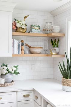 The open shelving in our kitchen - love the accessories including several Amazon finds! Farmhouse Style, Farmhouse Decor, Food Huggers, Open Shelving, Shelves, Driven By Decor, Living Room Color Schemes, Florida Home, Room Colors
