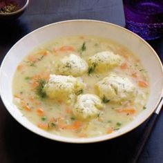 Peas-and-Carrots Soup with Dumplings
