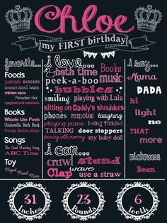 Custom First Birthday Chalkboard Image 18 x by KaysCustomBoutique, $20.00