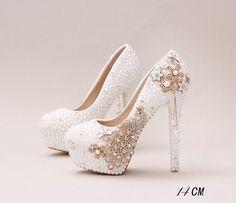 Handmade High Heels Round Toe Pearls Crystal Wedding Shoes, S0038